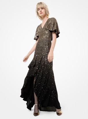 Michael Kors Confetti Sequined Silk-Georgette Cape Gown