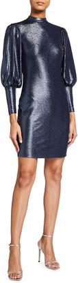 Aidan Mattox Mock-Neck Bishop-Sleeve Metallic Knit Dress