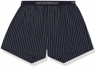 Emporio Armani Men's Loungewear - Yarn Dyed Woven Boxer Shorts