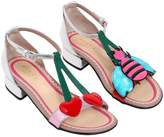 Gucci Cherries & Bee Laminated Leather Sandals