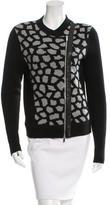 Diane von Furstenberg Harper Leather-Accented Wool Cardigan