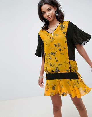 Religion Drop Waist Shift Dress In Floral-Yellow