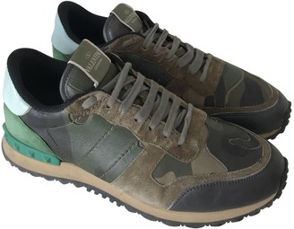 Valentino Rockrunner Khaki Leather Trainers
