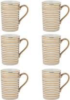 10 Strawberry Street Stripes Madi Porcelain Mugs (Set of 6)