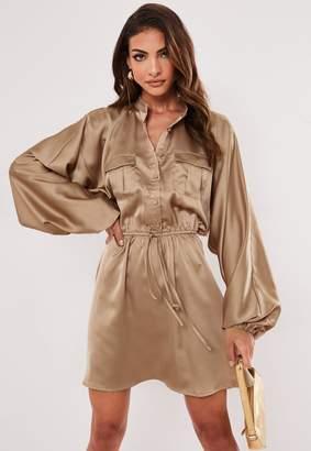 Missguided Bronze Satin Tie Waist Utility Dress