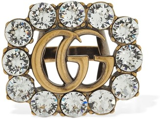 Gucci Gg Marmont Crystal Thick Ring