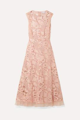 RED Valentino Organza-trimmed Guipure Lace Midi Dress - Blush