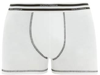 Striped Jacquard Logo Cotton Blend Boxer Briefs - Mens - White