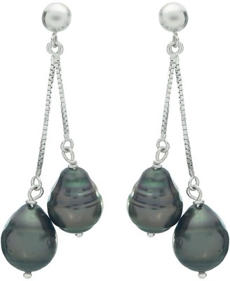 Pearlustre By Imperial Pearls For You 14k White Gold Tahitian Pearl Dangle Earrings