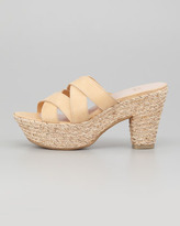 Stuart Weitzman Sliderules Strappy Leather Wedge Slide, Nude