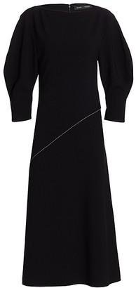 Proenza Schouler Matte Crepe Full-Sleeve Midi Dress