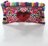 Joelle Gagnard White Pink Canvas Embroidered Red Sequin Heart Pom Pom Clutch New $280