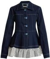 House of Holland Polka-dot ruffle-embellished denim jacket
