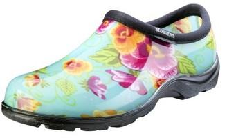 Principle Plastics Sloggers Women's Waterproof Comfort Shoes - Turquoise Pansy Print