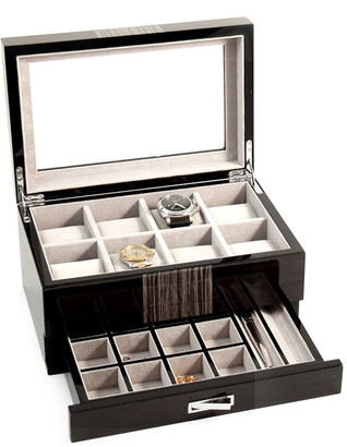 Bey-Berk Men's Lacquered Wenge Wood 8-Watch Storage Box w/ Drawer