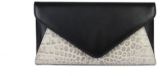 Saks Fifth Avenue Made In Italy Snakeskin-Embossed Leather Envelope Clutch