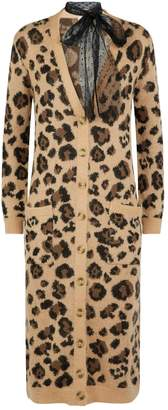 RED Valentino Long Leopard Print Mohair Cardigan