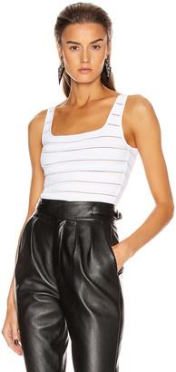 Balmain Logo Stripe Strap Bodysuit in White | FWRD