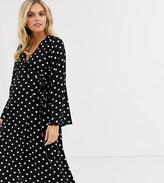 New Look Maternity long sleeve wrap dress in black polka dot