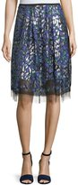 Elie Tahari Nicolette Layered Floral Appliqué Skirt