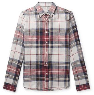 Brunello Cucinelli Button-Down Collar Checked Linen Shirt