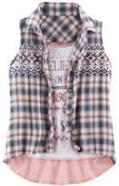 Knitworks Girls 7-16 Plaid Shirt & Graphic Tank Set