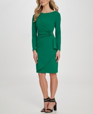 DKNY Ruched D-Buckle Sheath Dress