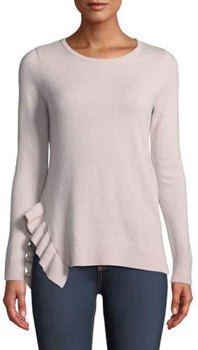 Neiman Marcus Side-Ruffle Long-Sleeve Cashmere Sweater