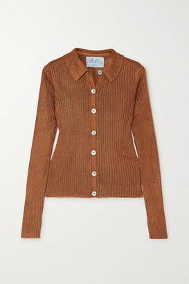Calle Del Mar - Metallic Ribbed-knit Cardigan - Copper