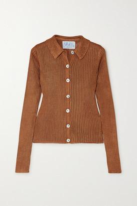 Calle Del Mar Ribbed-knit Cardigan - Copper