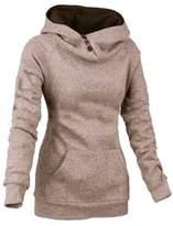 DOKER Women's Slim Fit Funnel Neck Button Hoodie Pullover Sweatshirt L