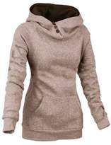 DOKER Women's Slim Fit Funnel Neck Button Hoodie Pullover Sweatshirt S