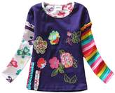 2015 NEAT Kid Girl Cotton Flower Long Sleeve T Shirt Tee Clothes 4-5 Year