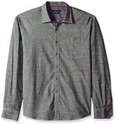 Bugatchi Men's Long Sleeve Shaped Fit Silk Polished Donnegal Cotton Shirt