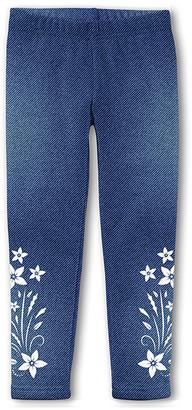 Emma & Elsa Girls' Leggings - Blue Floral Fleece-Lined Leggings - Toddler