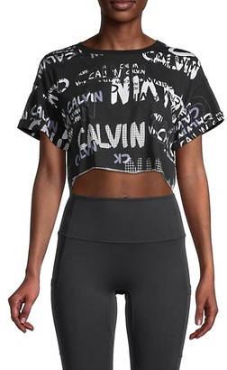 Calvin Klein Graphic Logo Cotton-Blend Cropped Top
