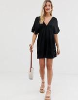 Asos Design DESIGN v front v back smock mini dress with pep hem