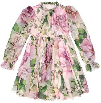 Dolce & Gabbana Kids Floral silk-chiffon dress