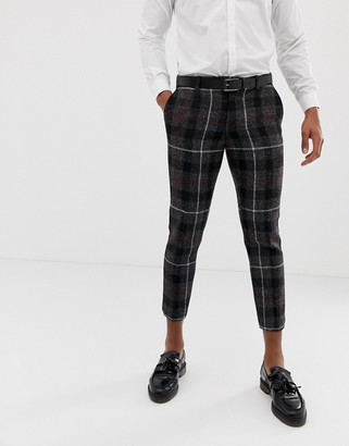 Twisted Tailor harris tweed cropped pants-Gray