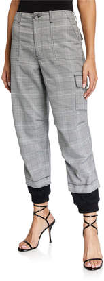 Alice + Olivia Isaac Plaid Cargo Pants with Sweatpant Cuff