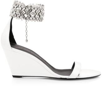 Giuseppe Zanotti Glen Swarovski Crystal Leather Wedge Sandals