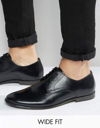 Asos Design Wide Fit Derby Shoes in Leather-Black