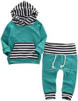 Aliven Newborn Baby Boy Girl Warm Striped Hoodie T-shirt Pants Outfit Set Kids Clothes