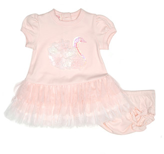 Biscotti Girls' Casual Dresses PINK - Pink Swan Dress & Bloomers - Infant