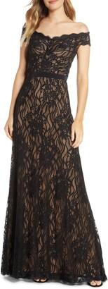 Tadashi Shoji Off the Shoulder Lace Evening Gown