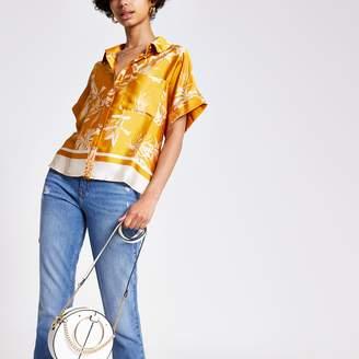 River Island Womens Yellow floral short sleeve shirt