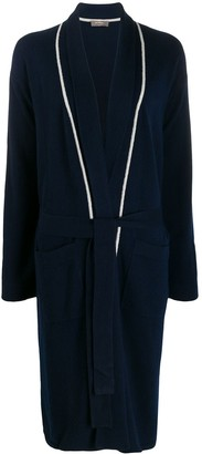 N.Peal contrast trim Ccshmere dressing gown