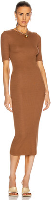 Enza Costa Silk Rib Half Sleeve Crew Midi Dress in Gold | FWRD