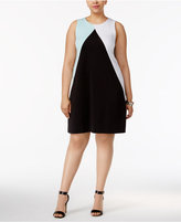Alfani Plus Size Colorblocked Scuba Dress, Created for Macy's