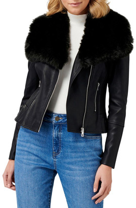 Forever New Tessa Pu Fur Collar Biker Jacket